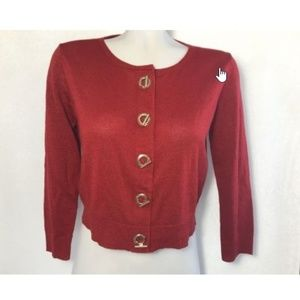 Ellen Tracy All That Glitter Red Sparkle Cardigan